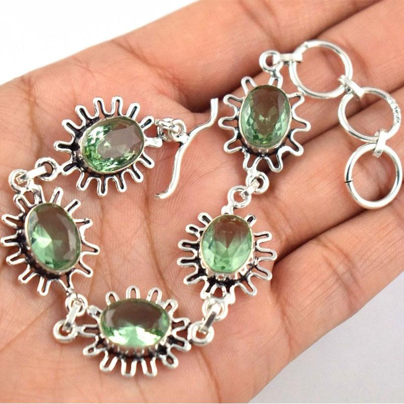 Brass Silver Plated Green Amethyst Gemstone Women's 9