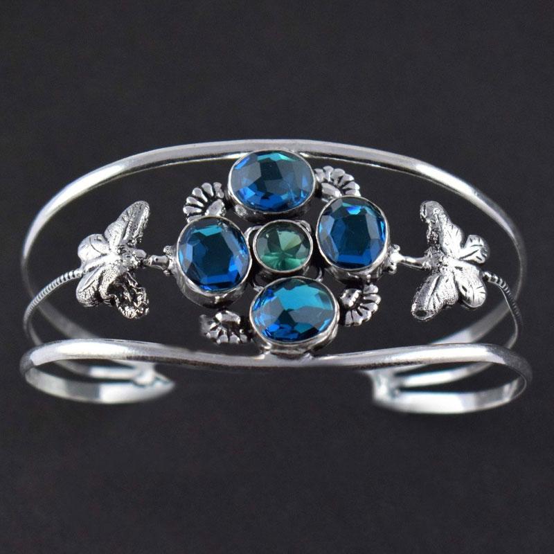 Lovely Apatite Hydro Brass Antique Finish Adjustable Women's Cuff Bracelet