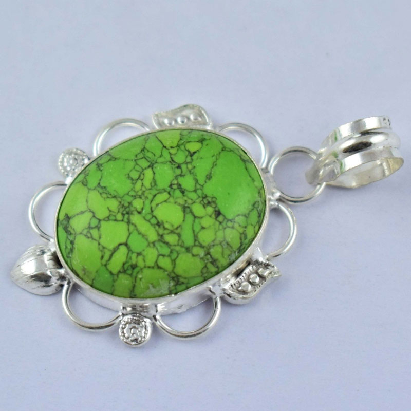 1Pc  Green Turquoise Cabochon Gemstone Brass Silver Plated Pendant Jewelry 9.5 Gm