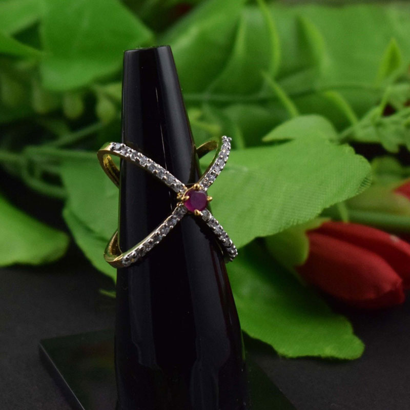 Ruby Hydro & White Cubic Zircon CZ Gold Plated Womens Gemstone Ring US Size-7