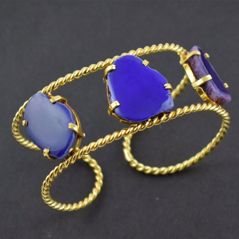 Natural Blue Agate Druzy Quartz Gemstone Brass Gold Plated Cuff Bracelet Bangle