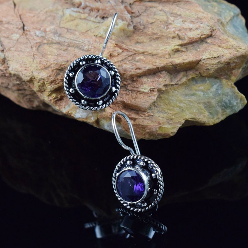 Delicate Design Amethyst Gemstone Statement Tinny Earring Buy One Get One Free