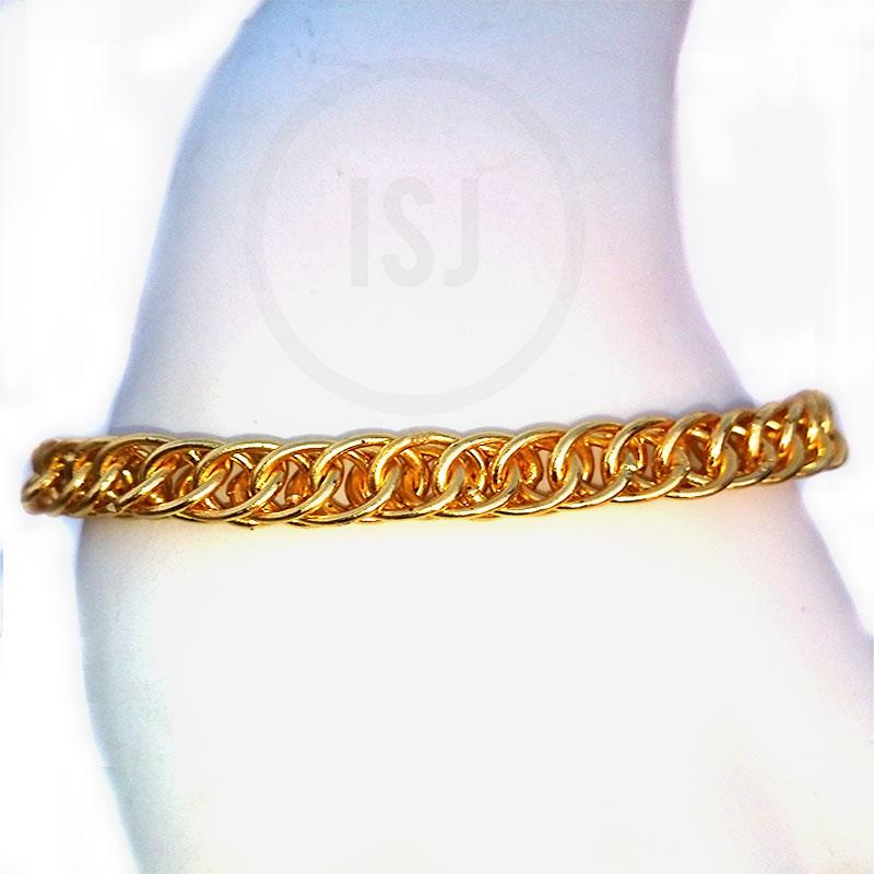 Gold Plated Solid Men Link Bracelet