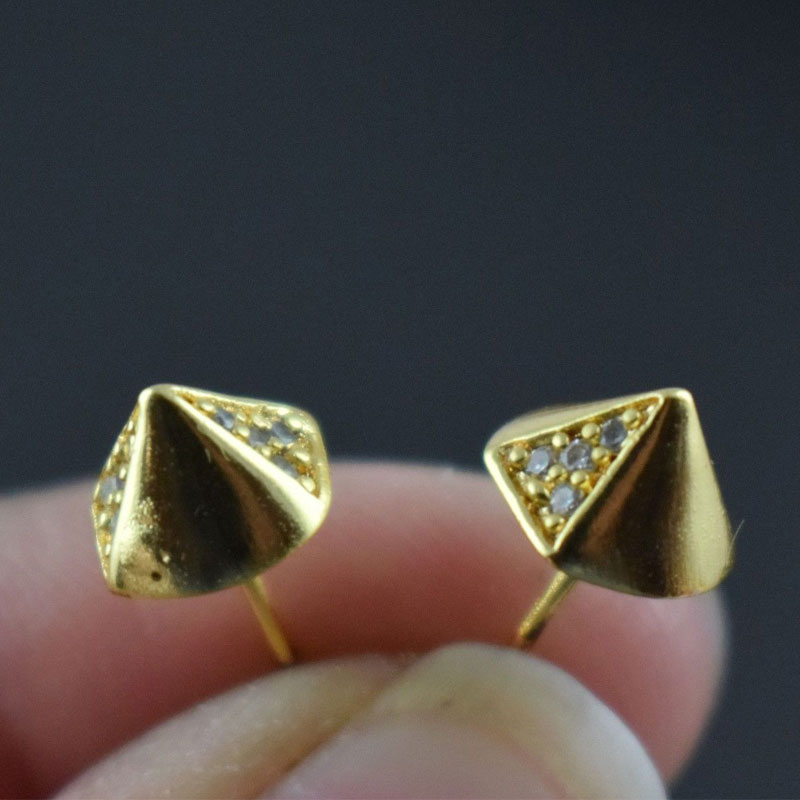 New Fashion White CZ Tiny Gold Plating Studs Earrings Art Jewelry Free Shipping