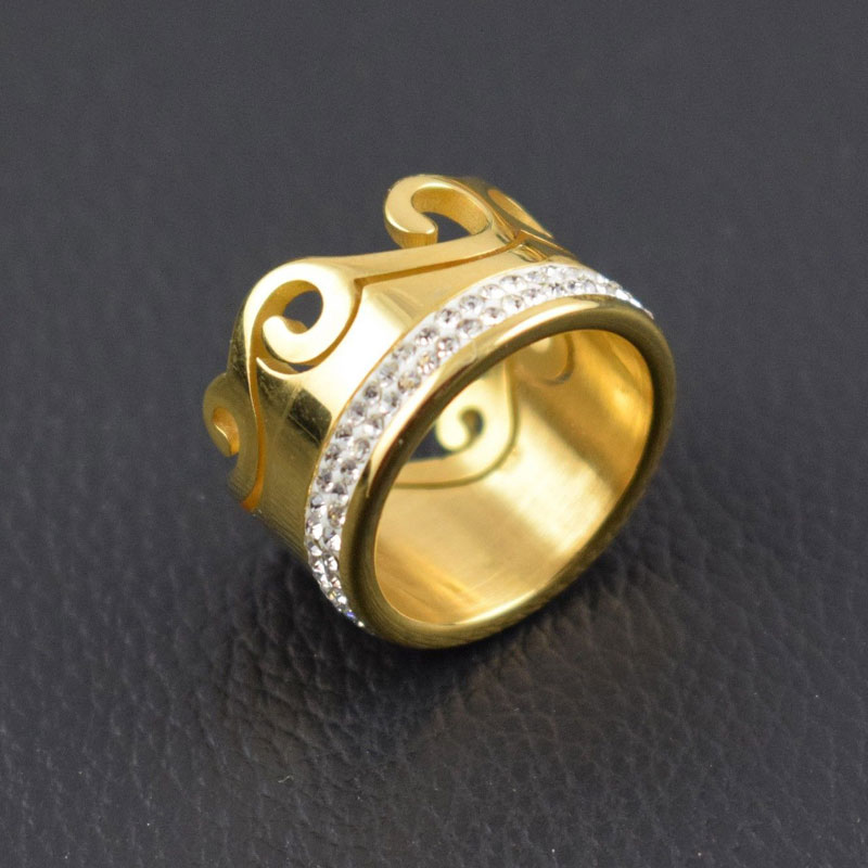 NEW STAINLESS STEEL RING BAND TITANIUM GOLD PLATING MEN WOMEN RING JEWELRY