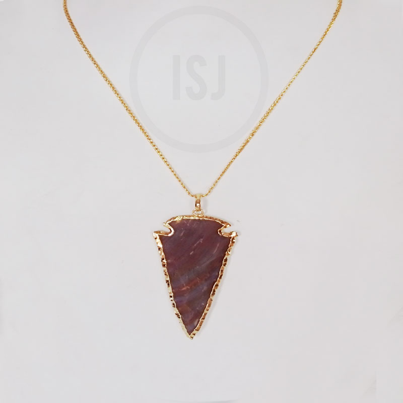 Handmade Gold Plated Stone Pendant For Men Without Chain
