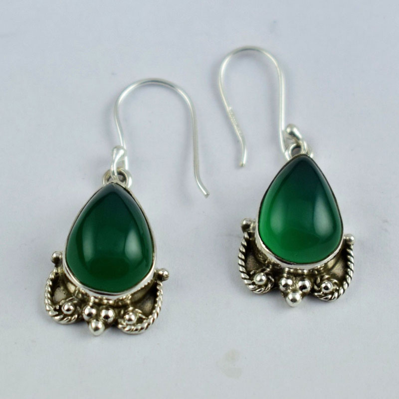 Sterling Silver Green Onyx Unique Design Antique Design Earring Free Shipping