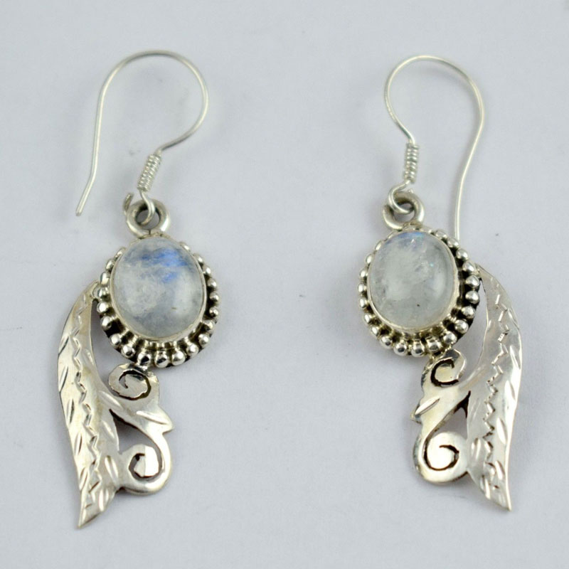 Sterling Silver Moon Stone Antique Design Earring Homemade Free Shi