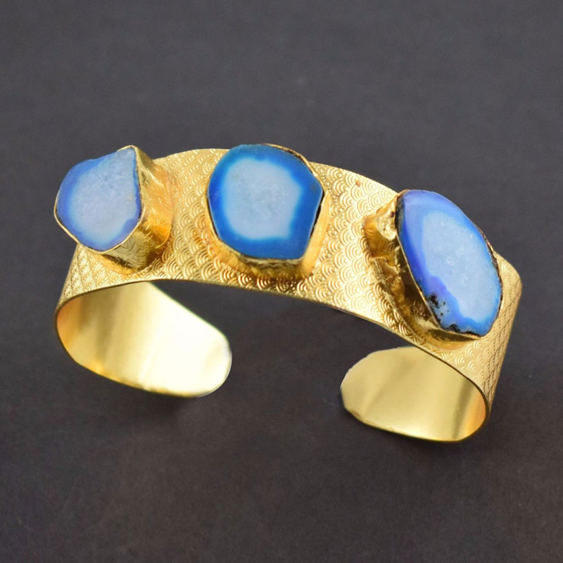 Druzy Agate Brass Gold Plated Cuff Bracelet Beautiful Bangle Free Shipping