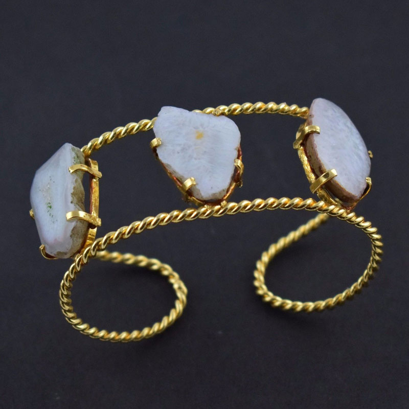 Natural White Agate Druzy Quartz Brass Gold Plated Adjustable Cuff Bracelet