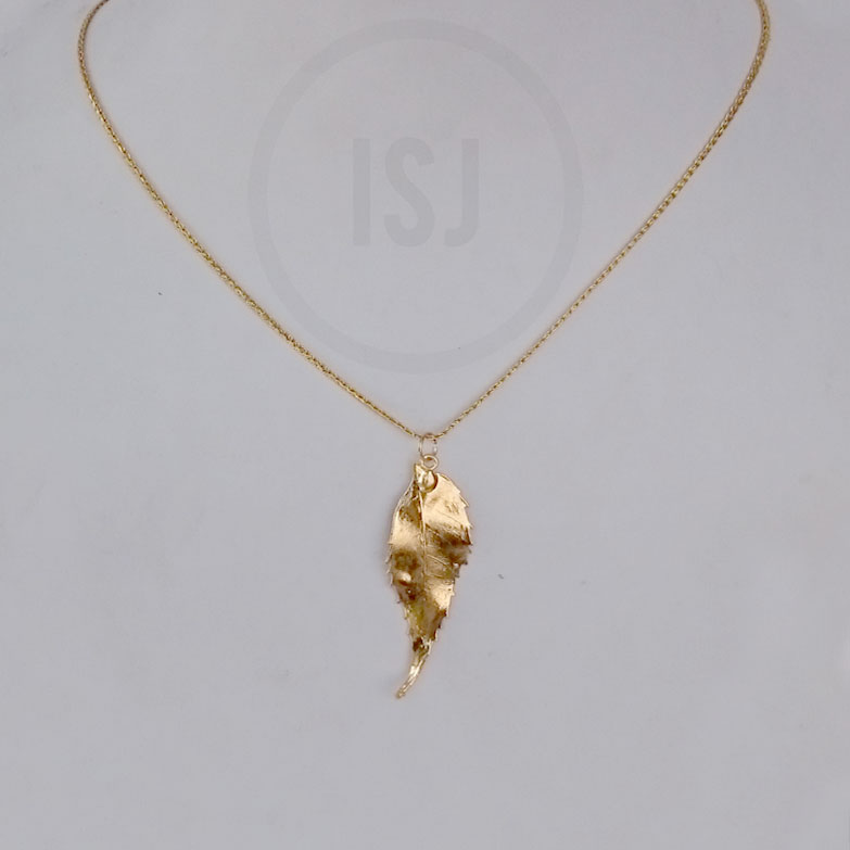 Shiny Gold plated Leaf Pendant For women Without Chains
