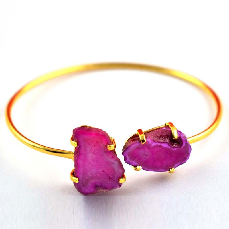 Natural Pink Druzy Agate Adjustable Brass Gold Plated Gemstone Bangle Bracelet
