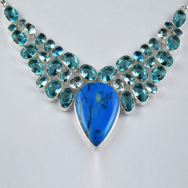 Turquoise Blue Topaz Hydro Gemstone Brass Sliver Plated Woman Teen Necklace