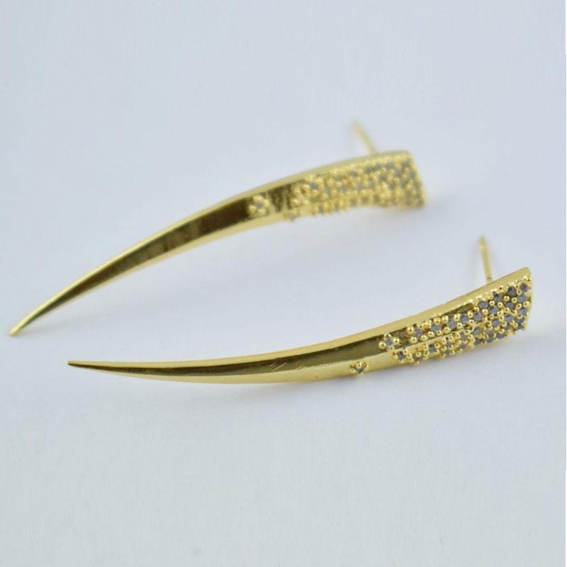 New Fashion Sword Look White CZ Gemstone Long Sword Earrings Art Jewelry