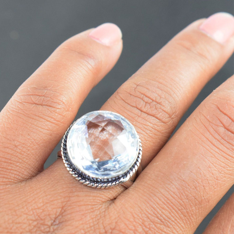 DESIGNER CRYSTAL QUARTZ HYDRO GEMSTONE ANTIQUE FINISH STATEMENT RING US SIZE 8.5