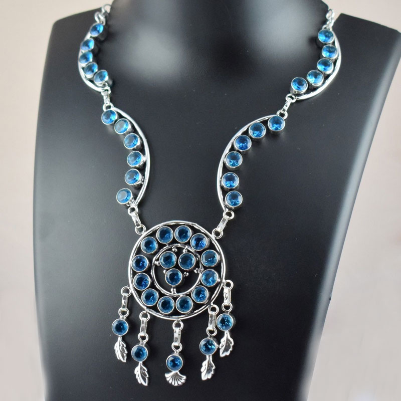 Elegant Design Blue Chalcedony Hydro Beaded Gemstone Necklace With Earriing
