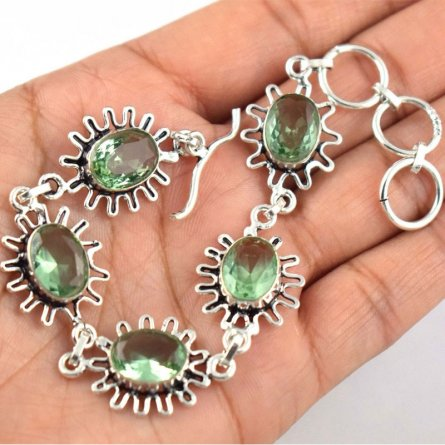 Brass Silver Plated Green Amethyst Gemstone Women's 9