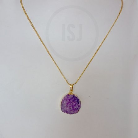 Gold Plated Purple Stone Pendant For Women Without Chain