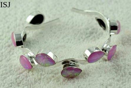 Australian Triplet Opal Bracelet, 925 Silver Plated Designer Bangles Cuff Jewelry,Cuff Bracelets,Opa
