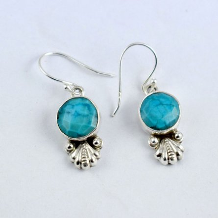 Sterling Silver Larimar Gemstone Antique Design Earring Homemade Jewelry