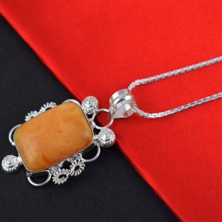 Yellow Agate Cabochon Gemstone Brass Silver Plated Pendant Jewelry 7.5 Gm