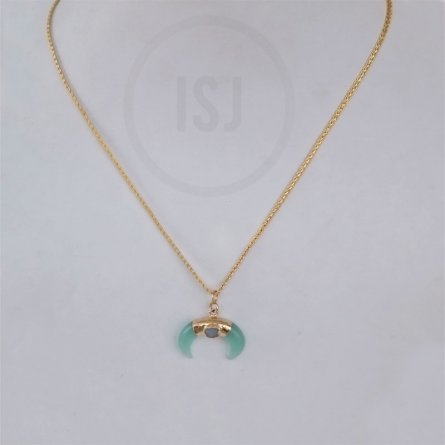 Gold Plated  Green Stone Pendant For Men Without Chain