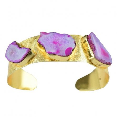 Pink Druzy Agate Quartz Brass Gold Plated Cuff Bracelet Pretty Bangle