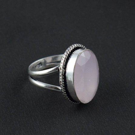 ROSE QUARTZ HYDRO ANTIQUE FINISH STATEMENT GEMSTONE RING US SIZE-8.5 UNIQUE RING