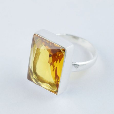 CITRINE QUARTZ HYDRO GEMSTONE SILVER PLATED STATEMENT RING FOR WOMEN US SIZE