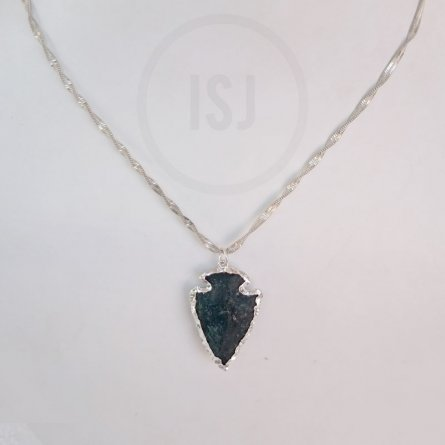 Silver Plated  Green Stone  Women Pendant Without Chain