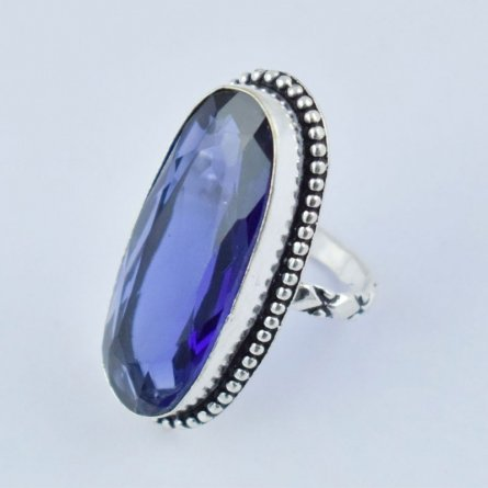 Blue Stone Hydro Faceted Sliver Antique Finish Gemstone Woman Ring Free Shipping