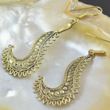Gypsy Earring Sliver Plated Unique Design Antique Gold Finish Boho Earring