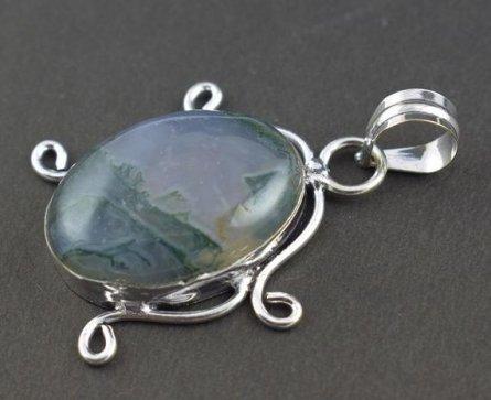 Beautiful Moss Agate Gemstone Silver Plated Vintage Look,Fashion Pendant,Boho Pendant,Gypsy Pendant,
