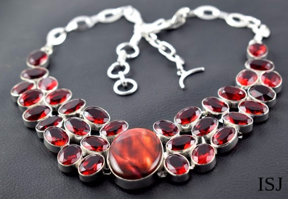 Red Garnet Hydro Gemstone Necklace,925 Sliver Pleated Necklace,Red Garnet gemstone,Necklace for wome