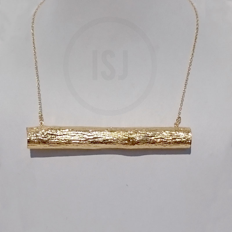 Pretty Gold plated Cylindrical Pendant For Women With Chain