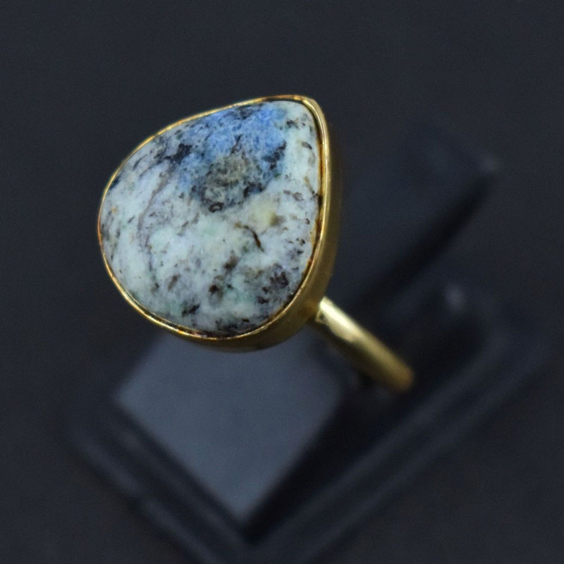 K2 Jasper Gemstone Brass Gold plated Ring US Size 7 Woman Teen Ring