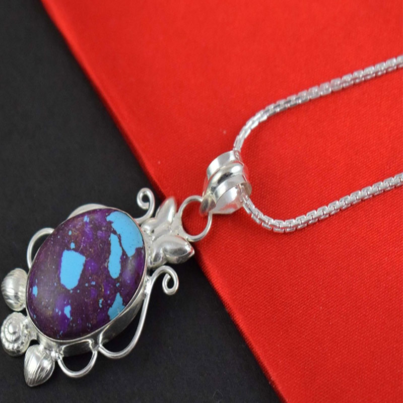 Pc Purple Turquoise Cabochon Gemstone Brass Silver Plated Pendant Jewelry