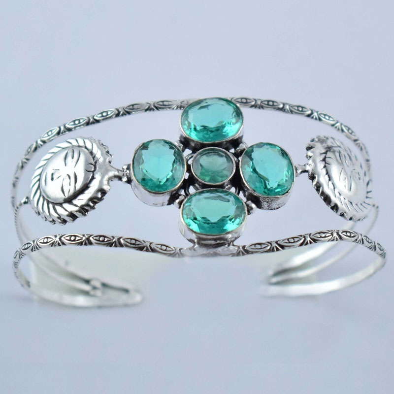 Green Quartz Antique Finish Adjustable Women's Cuff Adjustable Bracelet Bangle