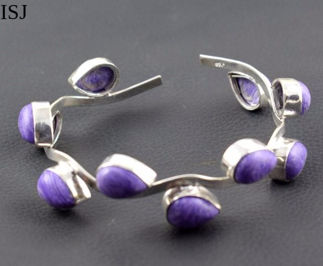 Artificial Charoite Brass Bracelet, 925 Silver Plated Designer Bangles Cuff Jewelry,Cuff Bracelets,