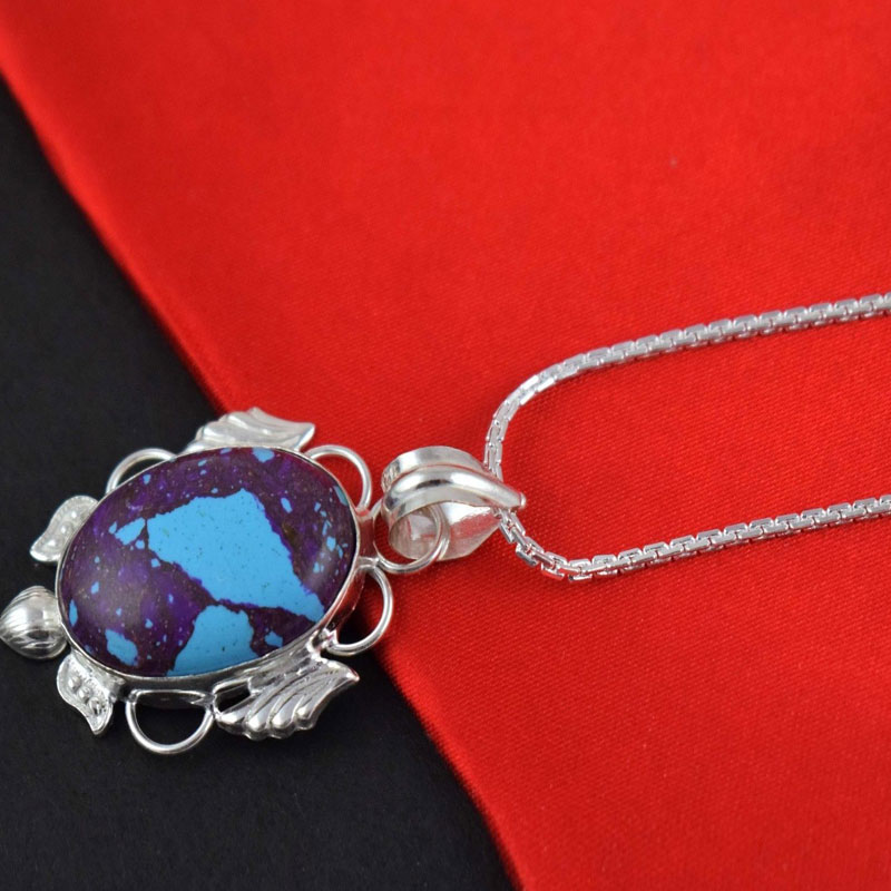 Purple Turquoise Cabochon Gemstone Brass Silver Plated Pendant Jewelry 9.5 Gm