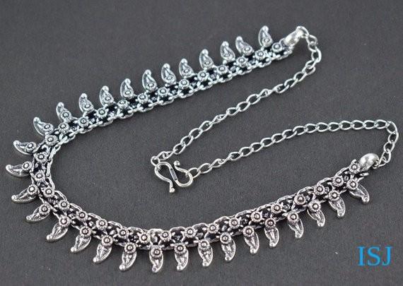 1 Pic Vintage Style Antique Finish Necklace Women Jewellery, Bohemian Antique Silver Necklace 20