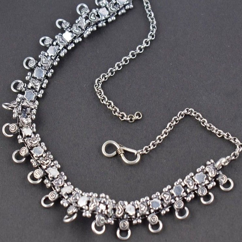 Vintage Style Antique Finish Women Jewelry Bohemian Antique Silver Necklace