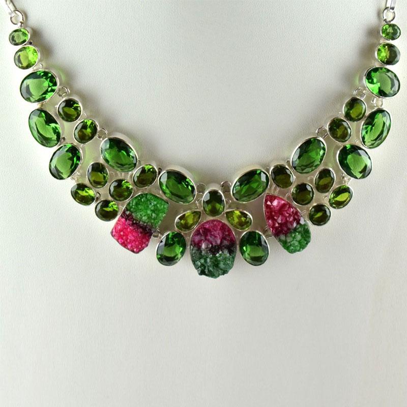 Druzy Peridot Hydro Gemstone Brass Sliver Plated Woman Teen Necklace