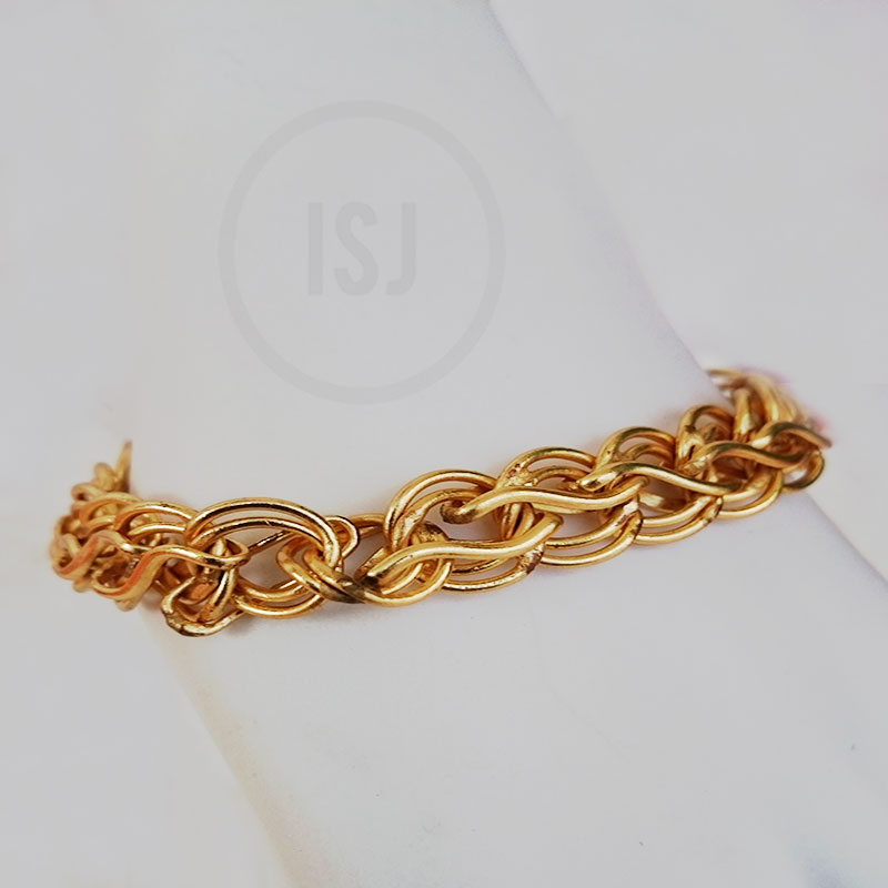 Yellow Gold Plated Link Bracelet For Men