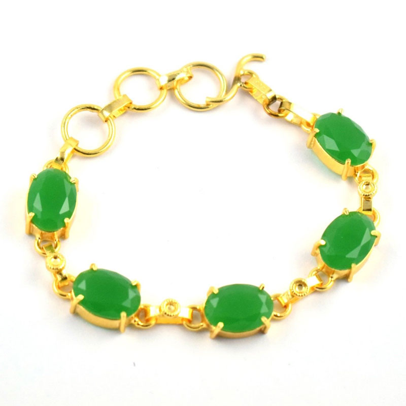 Chrysoprase Hydro Adjustable Brass Gold Plated Gemstone Women's Bracelet 9