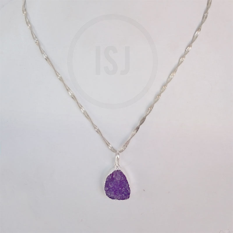 Silver Plated Purple Stone Pendant For Women Without Chain