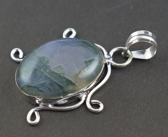 Beautiful Moss Agate Gemstone Silver Plated Vintage Look,Fashion Pendant,Boho Pendant,Gypsy Pendant,