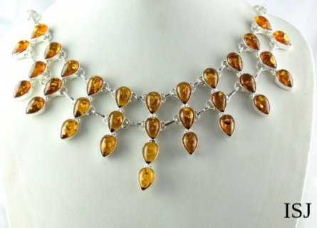 Yellow Citrine Hydro Quartz Gemstone Necklace,925 Sliver Pleated Necklace,Citrine gemstone,Necklace