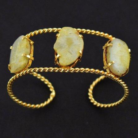 Yellow Agate Druzy Gemstone Brass Gold Plated Cuff Bracelet free Shipping