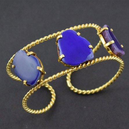 Natural Blue Agate Druzy Quartz Gemstone Brass Gold Plated Cuff Bracelet Bangle